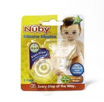 NUBY SILICONE NIPPLES FAST FLOW 6M+ 2PK
